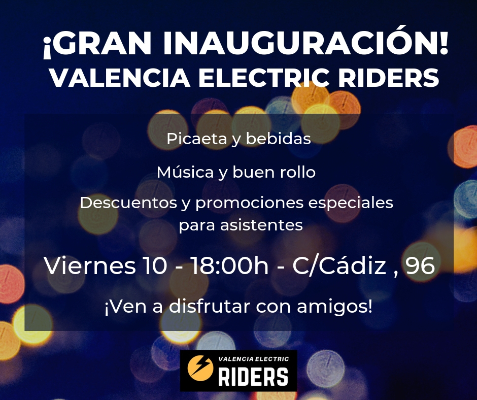 Cartel de la inauguración de Electric Riders en València