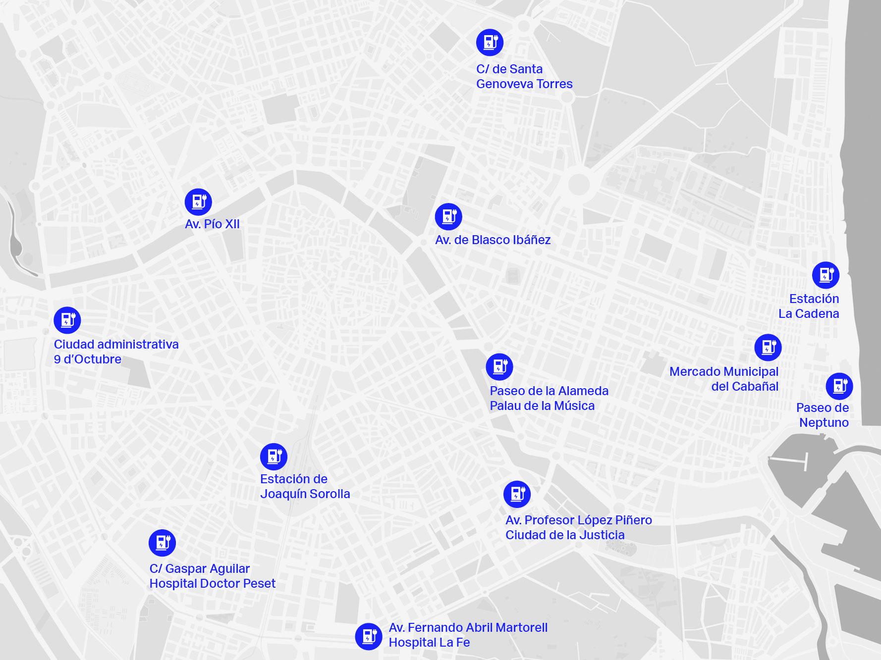 Propuesta de ubicación de los puntos de recarga en València