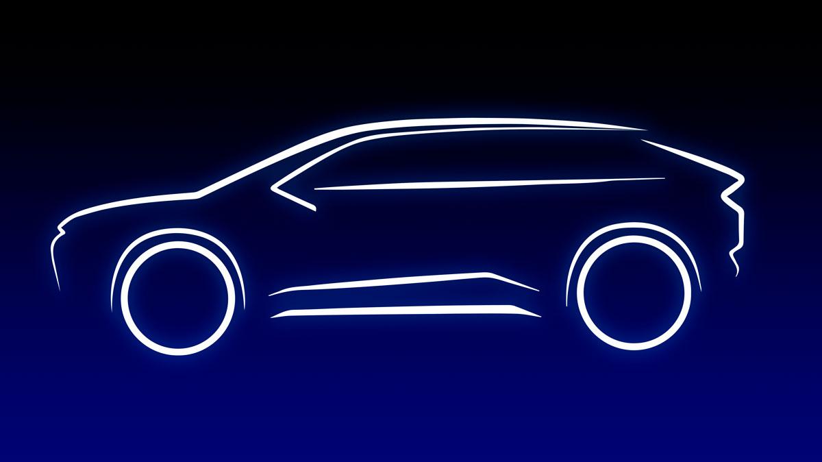 Imagen facilitada por Toyota de la silueta de su nuevo SUV eléctrico.